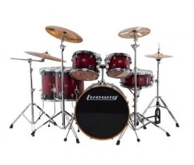 Ludwig Evolution Maple LCEM622XRF Red Burst Shell Set Bateri (10-12-14-14-16-22)
