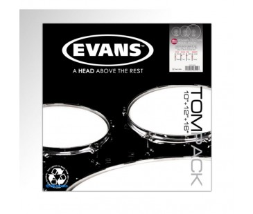 "Evans Deri Seti 10""+12""+16"" Power Center Tom Clear Rock Kit Dotlu Tek Kat (15 Mil)"