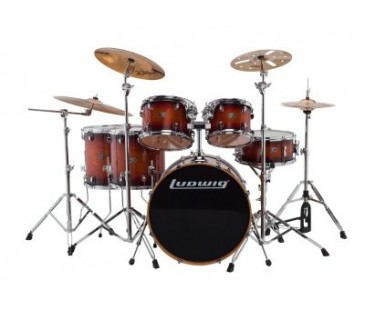 Ludwıg Evolution Maple Lcem622Xmb Mahogany Burst Shell Set Bateri (10-12-14-14-16-22)