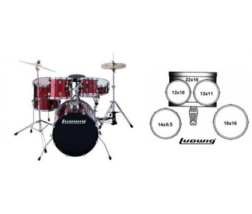 Ludwig LC1254 Accent CS Combo Power 5 Parça Akustik Davul Seti (Wine Red)