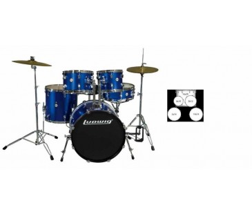 LUDWIG LC1709 BATERİ ACCENT CS COMBO FUSE BLUE  (5 PC)
