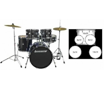 LUDWIG LC1701 BATERİ ACCENT CS COMBO FUSE BLACK  (5 PC)