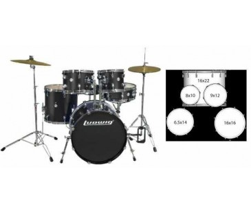 LUDWIG LC1751 BATERİ ACCENT CS COMBO DRIVE BLACK  (5 PC)